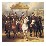 Louis-Philippe and His Sons on Horseback in Front of the Bar of the Chateau De Versailles Giclee Print by Horace Vernet