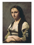 The Woman with the Pearl (La Femme a La Perle) Print by Jean-Baptiste-Camille Corot