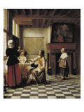 A Woman Drinking with Two Men Poster by Pieter Cornelisz Hoock