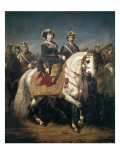 Military Parade Reviewed by Kings Isabel Ii and Francisco Giclee Print by Louis Charles Porion