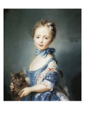 A Girl with a Kitten Gicléedruk van Jean-Baptiste Perronneau
