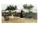 The Terrace Reproduction procédé giclée par Joaquim Vayreda I Vila