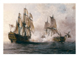 "Combat Between the Spanish ""Glorioso"" Against the British ""Darmouth"" Premium Giclee Print by Angel María Cortellini"