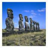 Maoi Statues of Ahu Akivi Temple, Megalithic Busts Carved from Volcanic Rock Prints