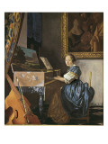 A Young Woman Seated at a Virginal Giclee Print by Jan Vermeer