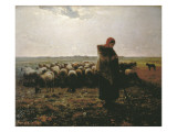 Shepherdess with Her Flock Affiches par Jean-François Millet
