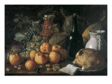 Still Life with a Bottle, Ceramics, Bread, Apples and Grapes Giclee Print by Luís Meléndez O Menéndez