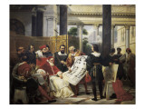 Pope Julius II Ordering Bramante, Michelangelo and Raphael to Construct the Vatican and St Kunstdruck von Horace Vernet