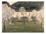 Lanscape with Flowered Almond Trees Premium Giclee Print by Santiago Rusinol