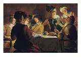 Supper with the Minstrel and His Lute Reproduction procédé giclée par Gerrit van Honthorst