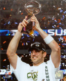 Aaron Rodgers Celebrating with Lombardi Trophy after winning Super Bowl XLV Fotografía