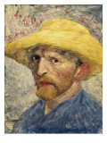 Self-Portrait with a Straw Hat Premium Giclee Print by Vincent van Gogh