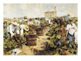The Grape Harvest Print by Arcadi Mas y Fondevila