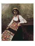Italian Girl (Jeune Italienne) Print by Jean-Baptiste-Camille Corot