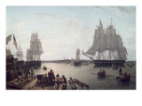 Boston Harbour from Constitution Wharf Giclee Print by Robert Salmon