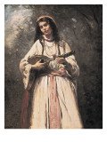 Gypsy Girl with Mandolin (Gitane À La Madoline) Prints by Jean-Baptiste-Camille Corot