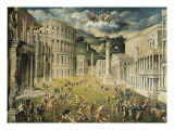 Gladiators Fighting Giclée-tryk af Paris Bordone