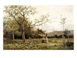 Two Young Girls in the Meadow Reproduction procédé giclée par Joaquim Vayreda I Vila