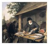 A Woman Selling Fish Poster von Adrien Van Ostade