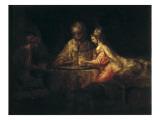 Assuerus, Hamman and Esther Print by  Rembrandt van Rijn