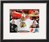 Dustin Byfuglien with Chicago Blackhawks Flag 2010 Stanley Cup Finals Framed Photographic Print