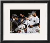 Yogi Berra, Derek Jeter, & Joe Girardi 2010 Yankees World Series Ring Ceremony Framed Photographic Print