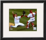Brad Lidge and Carlos Ruiz celebrate Final Out of the 2008 World Series Framed Photographic Print