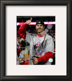 Cole Hamels w/2008 World Series MVP trophy Framed Photographic Print
