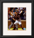 Buster Posey Celebrates Winning Game Five of the 2010 World Series Framed Photographic Print
