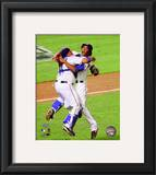 Bengie Molina & Neftali Feliz Celebrate winning the 2010 ALCS Framed Photographic Print