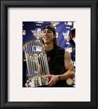 Tim Lincecum With World Series Trophy Game Five of the 2010 World Series Framed Photographic Print