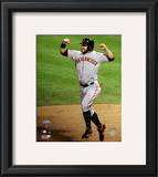 Cody Ross Celebrates Edgar Renteria's 3 Run Home Run Game Five of the 2010 World Series Framed Photographic Print