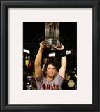 Buster Posey With World Series Trophy Game Five of the 2010 World Series Framed Photographic Print