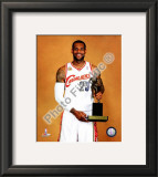 LeBron James with the 2009-10 MVP Trophy Framed Photographic Print