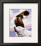 Eagle in Flight with Wolf Poster by Gary Ampel