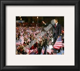 Barack Obama during election night in Grant Park on November 4, 2008 in Chicago, Illinois Framed Photographic Print