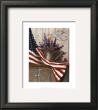 Flag with Purple Flowers Prints by T. C. Chiu