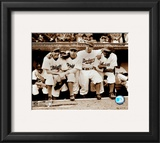 Jackie Robinson - First Day, with Spider Jorgenson, Pee Wee Reese, Ed Stankey Framed Photographic Print