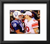 Peyton Manning & Eli Manning 2010 Action Framed Photographic Print
