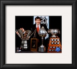 Alexander Ovechkin with 2008 Hart Trophy, Pearson Award, Ross Trophy &amp; the Rocket Trophy Framed Photographic Print