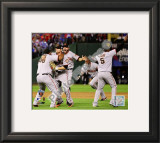 Pablo Sandoval, Freddy Sanchez, Cody Ross, Edgar Renteria, & Juan Uribe Celebrate Game Five of the Framed Photographic Print