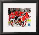 Kane, Byfuglien, Sharp, Keith, & Toews Celebrate Byfuglien's Goal in 2010 NHL Stanley Cup Finals Framed Photographic Print