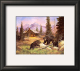 Bears on Log Prints by M. Caroselli