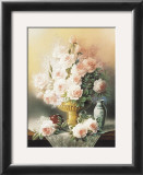 Roses in a Gold Vase Art by T. C. Chiu