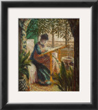 Madame Monet Embroidering, 1875 Poster by Claude Monet