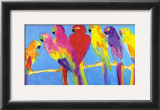 Parrots in Blue Art by Walasse Ting