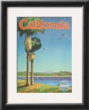 Santa Fe Railroad: California, Pacific Coastline and Spanish Mission Print by Oscar M. Bryn