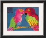 Two Parrots Art by Walasse Ting