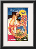 Hawaii via United Airlines Prints by Feher
