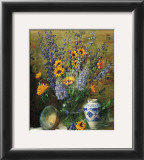 Delphiniums and Chinese Vase Print by F. Janca